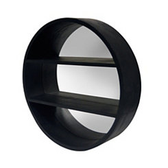 Black Round Shelf with Mirror Backer