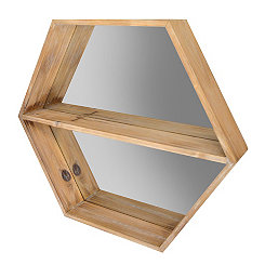 Natural Wood Hexagon Shelf with Mirror Backer