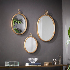 Trina Gold Oval Wall Mirrors, Set of 3