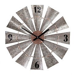 Galvanized Metal with Rope Windmill Wall Clock