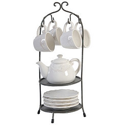 Fleur-de-lis 10-pc. Tea Set with Stand