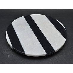 Round Monochrome Stripe Marble Lazy Susan