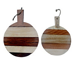 Striped Mango Wood Cutting Boards, Set of 2