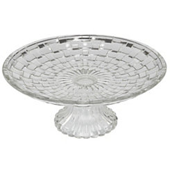 Basket Weave Glass Cake Stand