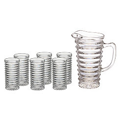 Cut Stripe 7-pc. Pitcher and Glass Set