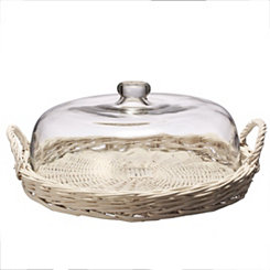 White Wicker Tray with Glass Dome, 15 in.