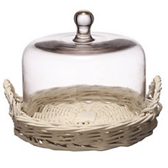 White Wicker Tray with Glass Dome, 8.5 in.