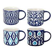 Blue and White Patterns Mugs, Set of 4