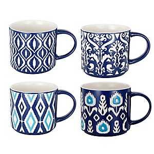 Blue and White Patterns Mugs, Set of 4