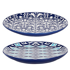 Blue and White Patterns Salad Plates, Set of 2