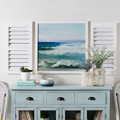 Ocean Waves Framed Shutter Wall Plaques, Set of 3