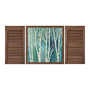 Birch Blue Framed Shutter Wall Plaques, Set of 3