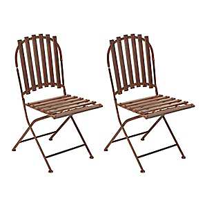 Red Metal Slat Folding Chairs, Set of 2