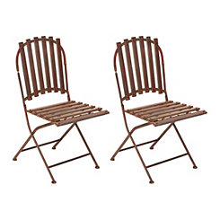 Red Metal Slat Folding Chairs, Set of 2