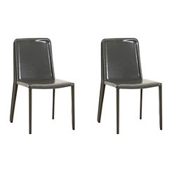 Arlo Shiny Gray Dining Chairs, Set of 2