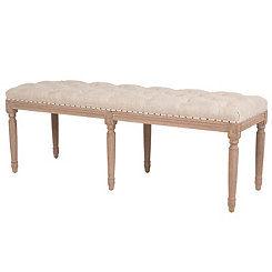 French Bisque Linen Upholstered Bench