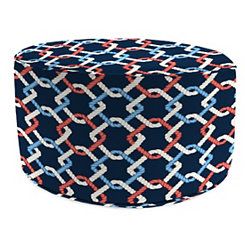 Navy Sailor Knot Outdoor Pouf