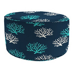 Isadella Oxford Round Outdoor Pouf