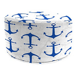 Cobalt Anchors Round Outdoor Pouf