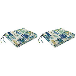 Pool Beach Huts Outdoor Seat Cushions, Set of 2