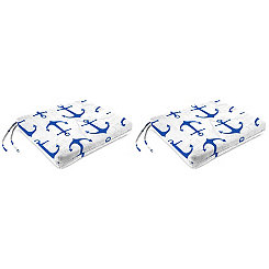 Cobalt Anchors Outdoor Seat Cushions, Set of 2