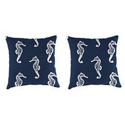 Seahorse Oxford Outdoor Pillows, Set of 2