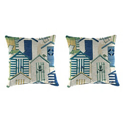 Pool Beach Huts Outdoor Pillows, Set of 2