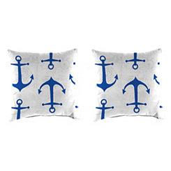 Cobalt Anchors Outdoor Pillows, Set of 2