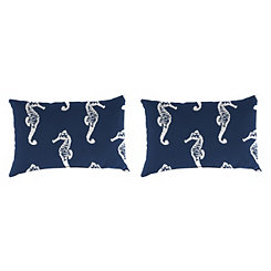 Seahorse Oxford Outdoor Accent Pillows, Set of 2