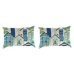 Pool Beach Huts Outdoor Accent Pillows, Set of 2