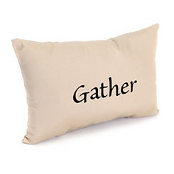Embroidered Gather Outdoor Accent Pillow
