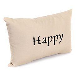 Embroidered Happy Outdoor Accent Pillow