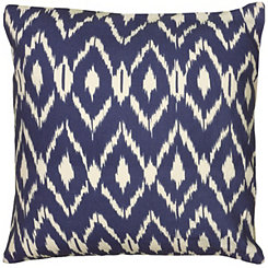 Blue Fractured Ikat Pillow