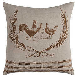 Brown Rooster Cotton Pillow