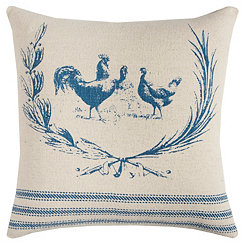 Blue Rooster Cotton Pillow