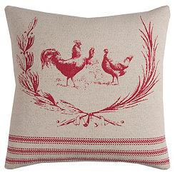 Red Rooster Cotton Pillow