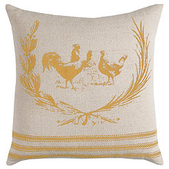 Yellow Rooster Cotton Pillow