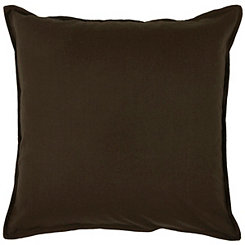 Solid Brown Flanged Pillow