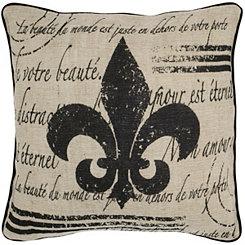 Brown Fleur-de-lis Script Pillow