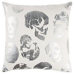 Metallic Skull Pillow