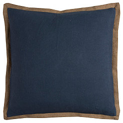 Blue Jute Edge Pillow