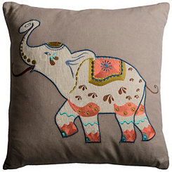 Embroidered Elephant Cotton Pillow