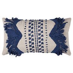 Blue Fringe Accent Pillow