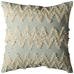 Light Blue Frayed Chevron Pillow
