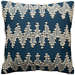 Blue Frayed Chevron Pillow