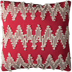 Red Frayed Chevron Pillow