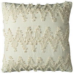 Natural Frayed Chevron Pillow