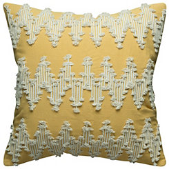 Yellow Frayed Chevron Pillow