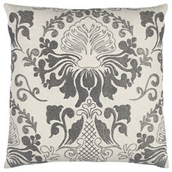 Gray Floral Pillow