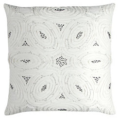 White Ruffle Floral Pillow